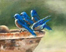 "ACEO ATC Signed Print Flowers Garden ""Interlude"" Bluebirds Bird Art Trading Card"