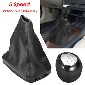 55353898 5 Speed Car Gear Shift Knob PU Boot Cover For SAAB 93 9-3 2003-2012