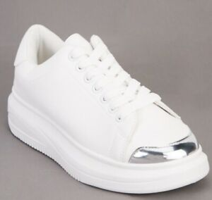 WOMENS WHITE LACE UP SPORT CHUNKY TRAINERS PUNK PLATFORM SNEAKERS SHOES SIZE 3-8