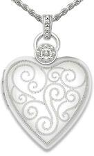 Mujer 3cm Plata de Ley 2 Foto Medallón Corazón Diamante Detalles de Collar