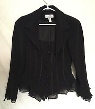 Lori Ann Montreal Womens Blazer Sz 14 Black Buttoned Ruffle Long Sleeves