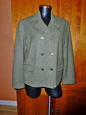 RALPH LAUREN Military Green 100% Lambs WOOL Tweed JACKET Coat Sz 8 M