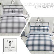 Oakland Checked Tartan Reversible Stars Quilt Duvet Cover Set Bedding Bed Linen