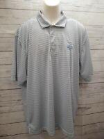 Link Tech Pinehurst 1895 Golf Polo Shirt Men XL Gray White Striped Short Sleeve