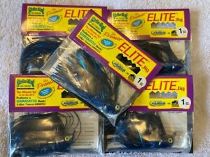 5 New STRIKE KING LURES 1oz PREMIER ELITE JIG Bundle Lot 5ct PEJ1-2 BLACK BLUE