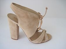 231817db99 Schutz Beige Suede Lace Up High Block Heel Single Sole Sandal Size 6.5B, NEW