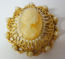 Vintage Signed FLORENZA Pearls Victorian Lady Cameo Dress Pin Brooch RARE