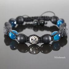 Herren Black Blue Hip Hop Shamballa Armband  Onyx Perlen für Männer verstellbar
