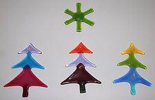 Vintage Art Glass CHRISTMAS TREE Ornaments GREEN Snowflake