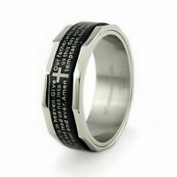 Stainless Steel Our Father Lord's Prayer Mens Spinner Ring 8MM   FREE ENGRAVING