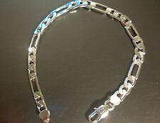 SB 24 Silver bracelet 20cm x 6mm FIGARO curb chain bracelet 925 stamp Plum BOXED