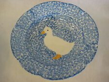 Vtg Los Angeles Pottery Blue Stipple With Duck Bowl-Blue Dot Mark On The Bottom