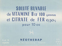 Buvard Vintage  Néotherap Vitamine B 12 Citrate de Fer