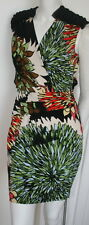Ali Ro black orange green white Sundance print day/evening dress  NEW sz 0