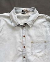 Denim Co. Womens Chambray Shirt Light Blue Long Sleeve Pocket Size M UK 12 Top