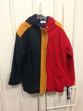 Vtg NWT Herman Kay Women's Wool Blend Color Block Winter Coat Size 12 Red Green