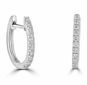 0.33 Ct Round Diamond Hoop Earrings White Gold Sparkly