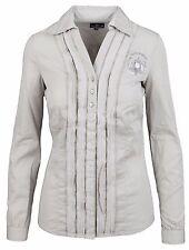 L' ARGENTINA Damen Bluse Shirt Langarm Größe 38 M 100% Baumwolle Cotton Beige