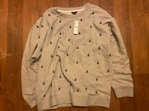 NWT J.Crew Heather Gray Embellished Sweatshirt  #AT798 size 2X