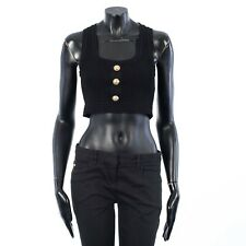 BALMAIN 595$ Black Cropped Button-Embellished Ribbed Stretch-Knit Top