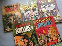 CUENTOS DE BRUJAS  EXTRAORDINARIO  N° 1,2,3,4,5  PRENSA COMIC MÉXICO TERROR 1958