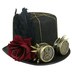 Unisex Steampunk Red Rose and Bronze Goggles Masquerade Fancy Costume Top Hat