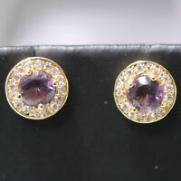2 Ct Round Purple Amethyst Moissanite Halo Stud Earrings 14K Rose Gold Plated