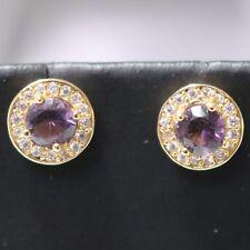 Gorgeous Purple Amethyst Moissanite Halo Earrings Anniversary Wedding Gift Box