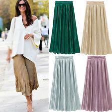 Women's Stylish Summer Metallic Pleated Elastic Waist Long Maxi Skirt Dreamed