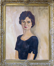 Gibson Signed Oil Painting Woman Portrait Large Fine Art Vintage 31x37""