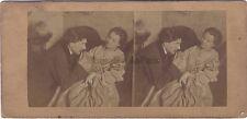 L'Amour courtois Scène de genre Photo Stereo Vintage albumine ca 1865