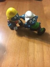 Two Smurf Figures Football and Field Hockey