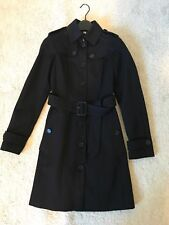 Auth Burberry Slim Fit Long Cotton Blend Single Breasted Trench Coat Black Sz 0