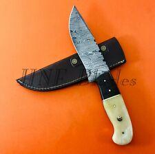 HNF CUSTOM HANDMADE DAMASCUS STEEL HUNTING SKINNER KNIFE | BONE HANDLE VVS 16