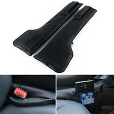 2X  Universal Autos Car Seat Side Gap Filler Storage Black PU Leather Pocket