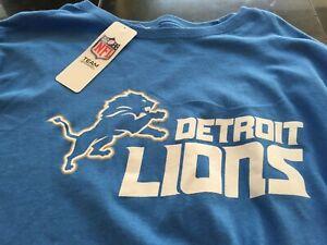 MENS NFL Detroit Lions Long Sleeve SHIRT BLUE L LARGE  NWT