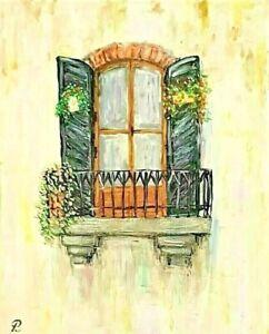 """""""Old Paris Balcony"""" Original Painting- De Martino Art"""