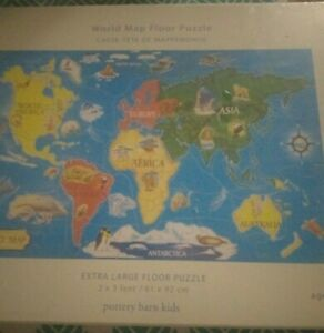 Sealed New Pottery Barn Kids World Map Floor Puzzle 33 Jumbo pcs Ages 4 And Up