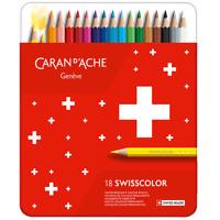 Caran d'Ache Swisscolor 18 Water Resistant Artist Colour Pencil Metal Tin Set