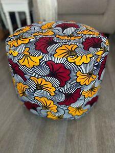 Pouffe footstool- Art Deco - African Print - Ankara - Red, yellow, white, black