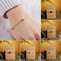 Fashion Heart Card Bracelet Rope String Jewelry Lucky Gift Bangle Adjustable