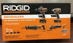 Ridgid R9225 18V Brushless 4 Tool Combo Kit NEW #4