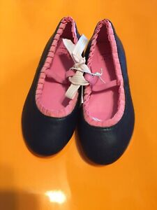 NWT Janie And Jack Girls Leather Flat Shoes 7 Navy/Pink