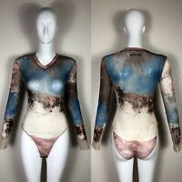 Rare Vtg Jean Paul Gaultier 90s Blue Cloud Mesh Bodysuit S