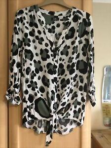 Wallis Ladies Shirt Blouse Top Size 10 Leopard Print Smart Work Wear