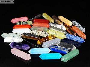 Natural Gemstones Hexagonal Pointed Reiki Chakra Raw Wand Pendant Charms Stones