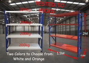 2Mx1.5Mx0.6M  Metal Warehouse Racking Garage Shelving 800kg Storage Shelves