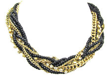 Gold, Black, & Rhinestone Crystal Multi-Strand Statement Necklace - New