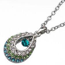 4.40 Ct Round Cut Style Shape Emerald & Topaz CZ 18K White Gold Plated Pendant