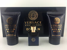 VERSACE DYLAN BLUE 3PC MINI GIFT SET SHOWER GEL COLOGNE MINI & A/S BALM NEW BOX